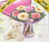 Mother's Day Flower Perfect Gift With A Cuddly Bailey Bear & a Fun Helium Pink Heart Shaped Balloon Code: JGFMD50021MS-BBPHB  ( Local Delivery Only )