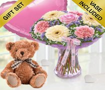 Mother's Day Flower Perfect Gift With A Ccuddly Bertie Bear & Fun Helium Pink Heart Shaped Balloon Code:JGFMD50021MS-BRBPHB ( Local Delivery Only )