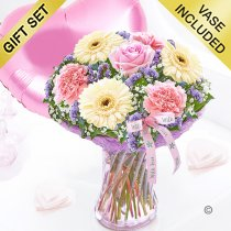 Mother's Day Flower Perfect Gift With A Fun Helium Filled Plain Pink Heart Balloon Code: JGFMD50021MS-PHB  ( Local Delivery Only )