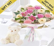 Mother's Day Flower Hand-tied with a Cuddly Super Soft Bailey BearCode: JGFM5009MHTBB ( Local Delivery Or Collection Only )
