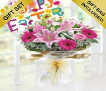 Easter gift sets taunton and wellington pink endearment hand tied with a fun helium filled happy easter balloon codejgfe001530b negle Choice Image