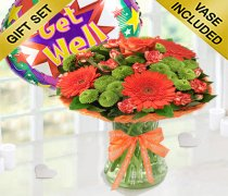 Get Well Vibrant Orange Zest Vase With a Fun Helium Get Well Balloon Code: JGFG023545VOGWB | Local Delivery Only
