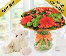 Get Well Vibrant Orange Zest Vase with a Cuddly Super Soft Bailey Bear Code: JGF023545VOGWBB | Local Delivery Only