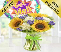 Get Well Sunflower Breeze Vase With a Fun Helium Get Well Balloon Code: JGFG8562SGWB  | Local Delivery Or Collect From Shop Only