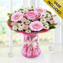 Baby Girl Cotton Candy Vase Arrangement Code: JGFC00281PS | Local Delivery Or Collect From Shop Only