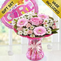 Baby Girl Cotton Candy Vase With a Fun Helium It's a Girl Balloon Code: JGFC00281PBS | Local Delivery Or Collect From Shop Only