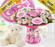 Baby Girl Cotton Candy Vase a Soft Bailey Bear and a Helium It's a Girl Balloon Code: JGFB0281PBSBB | Local Delivery Or Collect From Shop Only