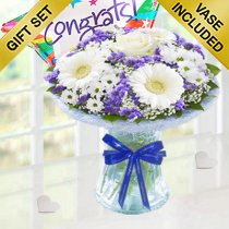 Congratulations Azure Vase With A fun Helium Filled Congratulations Star Balloon Code: JGFCA928871BVGB | Collection Or Local Delivery Only