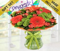 Congratulations Vibrant Orange Zest Vase With A fun Helium Filled Congratulations Star Balloon Code: JGFC023545VOGB | Local Delivery Only