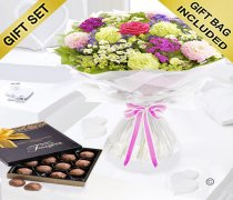 Summer Flower Hand-tied with a Box of Luxury Chocolate Truffles Code: JGFS33662ST  | Local Delivery Or Collect From Shop Only