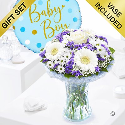 Baby Boy Azure Vase with a Fun Baby Boy Helium Balloon, Code: JGFA928871BVB