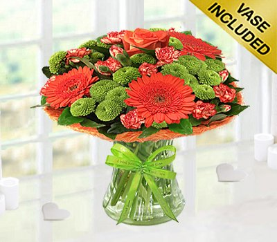 Get Well Vibrant Orange Zest Vase Green Code Jgfg023545voggw