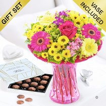 Summer Vibrant Vase with a Box of Luxury Chocolate Truffles Code: JGFS908891SCT | Local Delivery Or Collect From Shop Only