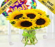 Sunflower Sunburst Get Well Soon Vase With a Fun Helium Get Well Balloon Code: JGFSU54879SSGWB | Local Delivery Only / Collection in Shop Only