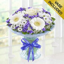 Happy Birthday Azure Vase Code: JGFHA928871BVH | Collection Or Local Delivery Only