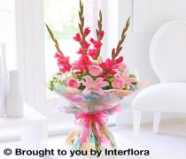 Large Summer Gladioli, Lily and Rose Hand-tied Code: H63122PS