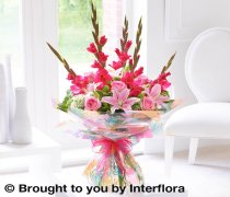 Extra Large Summer Gladioli, Lily and Rose Hand-tied Code: H63123PS