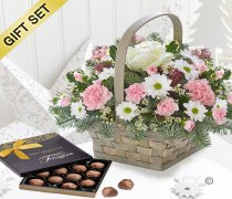 Winter Beauty Flower Basket with A Box Of Luxury Milk Chocolate Truffles Code:JGFX50111WBCT  | Local Delivery Or Collect From Shop Only