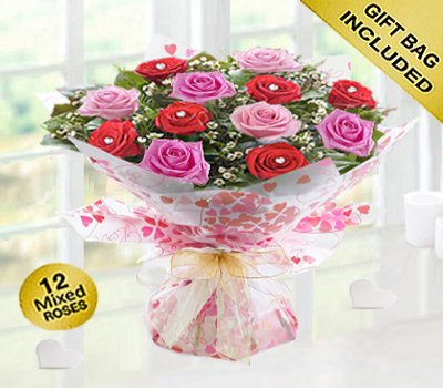Sweet Loves Desire 6 Red and 6 Pink Rose Hand-tied Code JGFV96458RPW ( Local Delivery Or Collection Only )