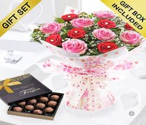 Sweet Loves Desire 6 Red and 6 Pink Rose Hand-tied With A Box Of Luxury Chocolate Truffles Code JGFV97458RPWT ( Collection OR Local Delivery Only )