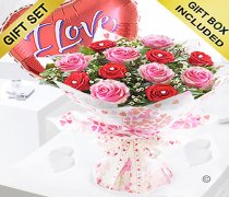 Sweet Loves Desire 6 Red and 6 Pink Rose Hand-tied with a fun helium filled I Love You Balloon Code JGFV98458RPB ( Collection OR Local Delivery Only )