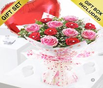 Sweet Loves Desire 6 Red and 6 Pink Rose Hand-tied with a Plain Red Heart Balloon Code JGFV998458RPB | Local Delivery Or Collect From Shop Only