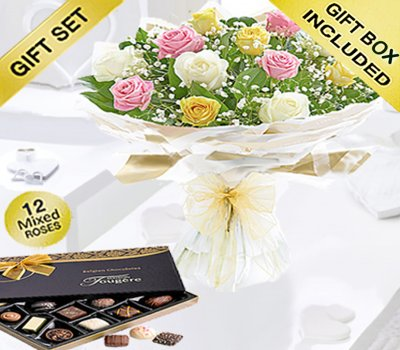 Amore Mixed Dozen Rose Hand-tied With Luxury Chocolates Code: JGFV401792MRC Local Delivery Only