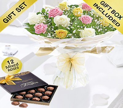 Amore Mixed Dozen Rose Hand-tied With A Box Of Luxury Chocolate Truffles Code: JGFV401793MRT | Local Delivery Or Collect From Shop Only