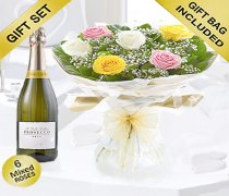 Amore Mixed 6 Rose Hand-tied with a Delicious Bottle Prosecco Code: JGFV401797MRP Local Delivery Only