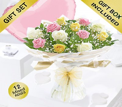 Amore Mixed Dozen Rose Hand-tied with a fun Helium Filled Plain Pink Heart Balloon Code: JGFV401799MRB| Local Delivery Or Collect From Shop Only