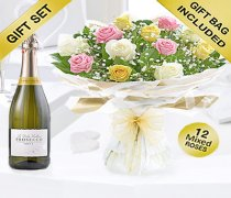 Amore Mixed Dozen Rose Hand-tied with a Delicious Bottle Prosecco Code: JGFV401804MRP Local Delivery Only