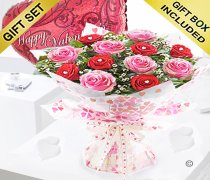 Sweet Loves Desire 6 Red and 6 Pink Rose Hand-tied with a Happy Valentines Balloon Code JGFV998458RVB  | Local Delivery Or Collect From Shop Only