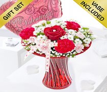 Red Love Vase with a Fun Helium Happy Valentines Balloon Code: JGFV400VHVB Local Delivery Only