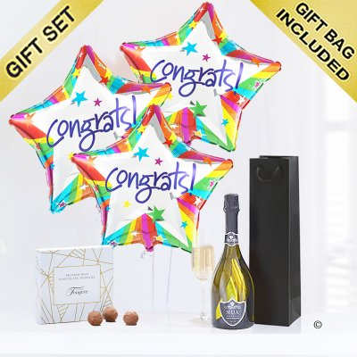 Congratulations Balloons with a delicious bubbly Prosecco and Milk Chocolate Truffles Code: JGF2047CBPT