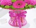 Happy Birthday Vibrant Pink Vase Code JGF375128HVB| Local Delivery Or Collect From Shop Only