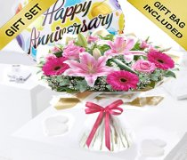 Happy Anniversary Pink Endearment Hand-tied With Happy Anniversary Balloon Code: JGFHA0015300EHB | Local Delivery Or Collect From Shop Only