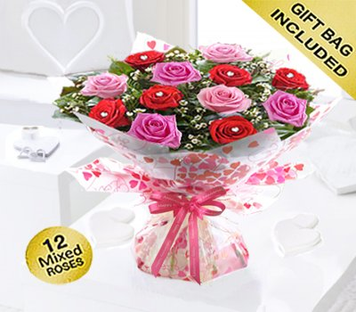 Happy Anniversary Sweet Loves Desire 6 Red and 6 Pink Rose Hand-tied Code JGFHA96458RPW ( Collection OR Local Delivery Only )