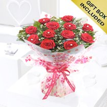 Happy Anniversary True Loves Desire 12 Red Rose Hand-tied Code JGFHA96458RRW  | Local Delivery Or Collect From Shop Only