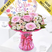 Cotton Candy Get Well Vase With a Fun Helium Get Well Balloon Code: JGFG00281PSB | Local Delivery Or Collect From Shop Only