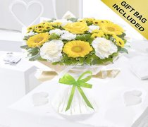 Yellow and White Get Well Captivation Handtied Code: JGFG457791YH | Local Delivery Only Or Collect From Shop