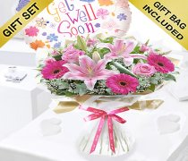 Get Well Pink Endearment Hand-tied With a Fun Helium Get Well Balloon Code:JGFG15300EHB | Local Delivery Or Collect From Shop Only
