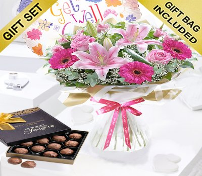 Get Well Pink Endearment Hand-tied With Milk Chocolate Truffles and a Get Well Balloon Code:JGFG153EHBT  | Local Delivery Or Collect From Shop Only