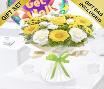 Yellow and White Get Well Captivation Handtied With a Fun Helium Get Well Balloon Code: JGFG457791YHB | Local Delivery Only Or Collect From Shop