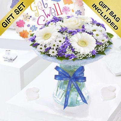 Azure Get Well Vase Arrangement With a Fun Helium Get Well Balloon Code: JGFGA92881BVB | Local Delivery Only