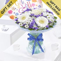 Azure Get Well Vase Arrangement With a Fun Helium Get Well Balloon Code: JGFGA92881BVB | Local Delivery Or Collect From Shop Only