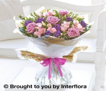 Happy Birthday Lilac Rose and Alstroemeria Hand-tied Code: C10061LS
