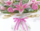 Happy Birthday Pink Rose and Lily Hand-tied Code: C08221PS