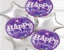 Happy Birthday Balloon Bouquet Silver Code: JGFB0231431SB | Local Delivery Only