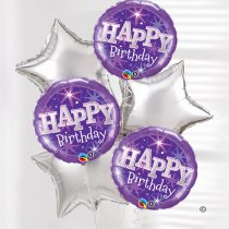 Happy Birthday Balloon Bouquet Silver Code: JGFB0231431SB | Local Delivery Or Collect From Shop Only