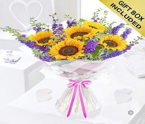 Sunflower and Larkspur Hand-tied Code JGFS329875SL | Local Delivery Or Collect From Shop Only